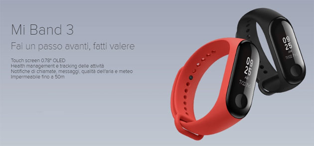 Xiaomi Mi Band 3 in Italia da 29 euro