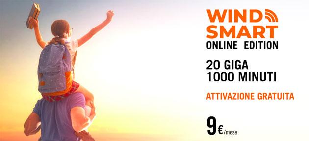 Wind Smart Online Edition: 9 euro per 20 Giga e 1000 minuti al mese [fino al 17 ottobre]