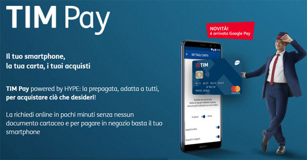 Foto TIM Pay con carta prepagata, pagamenti contactless e supporto in Apple Pay e Google Pay