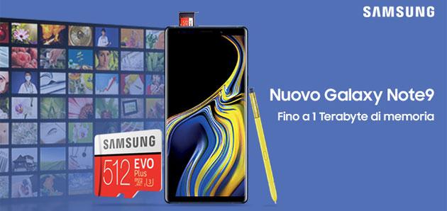 Galaxy Note9, fino a 1 Terabyte di memoria grazie al concorso Samsung che regala microSD