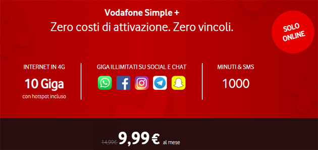 Vodafone Simple Plus: 10 giga, 1000 minuti e SMS a 9,99 euro al mese