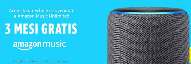 Foto Amazon regala 3 mesi di Music Unlimited acquistando Echo