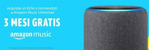 Amazon regala 3 mesi di Music Unlimited acquistando un Echo