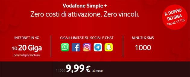 Vodafone Simple Plus raddoppia fino al 18 ottobre: 20 giga, 1000 minuti e SMS a 9,99 euro al mese