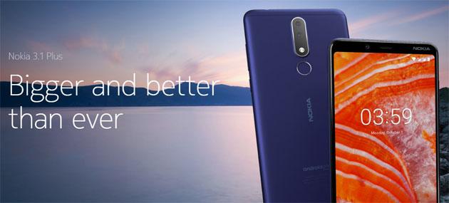 Nokia 3.1 Plus ufficiale con ampio display 6 pollici e doppia fotocamera