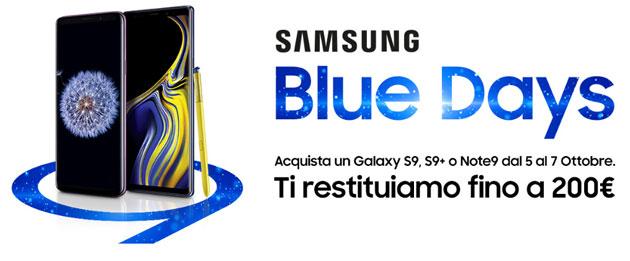 Samsung Blue Days 2018, fino a 200 euro di rimborso acquistando Galaxy S9, S9 Plus o Note9