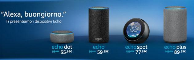 Amazon Alexa in Italia con Amazon Echo, Echo Plus, Echo Dot, Echo Spot e Eho Sub