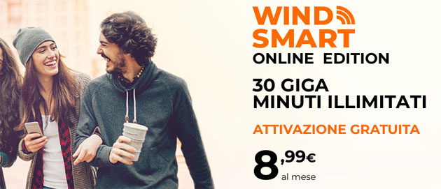 Wind Smart Online Edition: 8,99 euro per 30 Giga e minuti illimitati al mese [fino al 19 novembre]