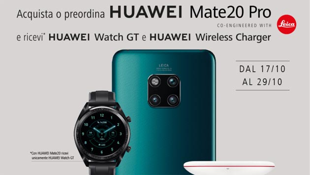 Huawei regala Watch GT a chi acquista Mate20 o Mate20 Pro