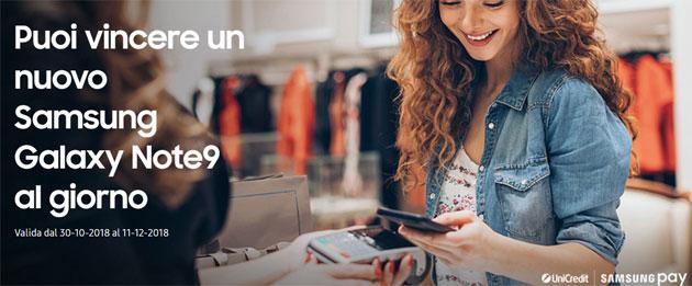 Un Galaxy Note9 in regalo al giorno con Samsung Pay fino al 12 dicembre