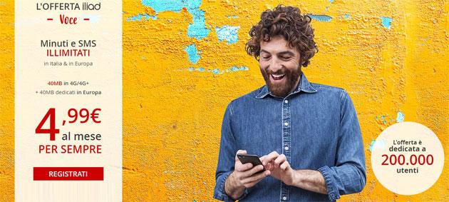 Iliad, offerta Voce da 4,99 al mese con minuti e SMS illimitati senza giga inclusi