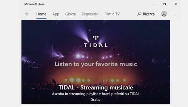 TIDAL nel Microsoft Store per Windows 10