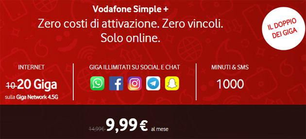 Vodafone Simple+ raddoppia i giga a 20, con anche 1000 minuti e SMS a 9,99 euro al mese