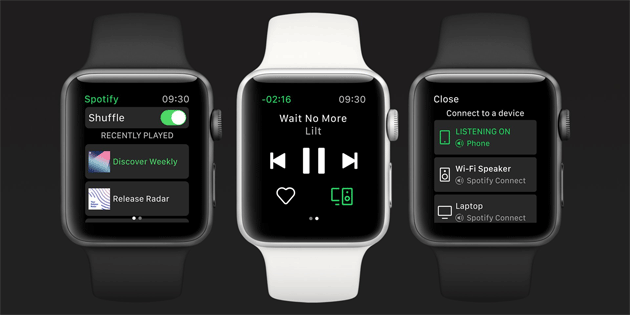 Foto Spotify su Apple Watch, app ufficiale disponibile