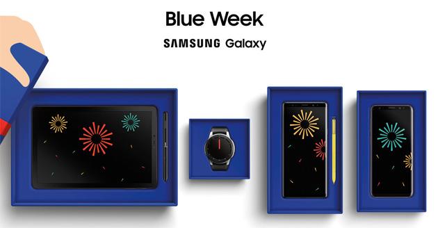 Samsung Blue Week 2018: smartphone, tablet e wearable scontati del 20 per cento per una settimana