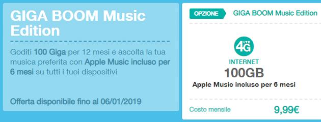 3 Giga Boom Music Edition: 100 GB per 12 mesi a 9,99 euro