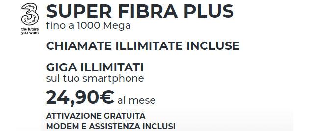 3 Super Fibra: Fisso e Mobile con giga senza limiti da 24,90 euro al mese
