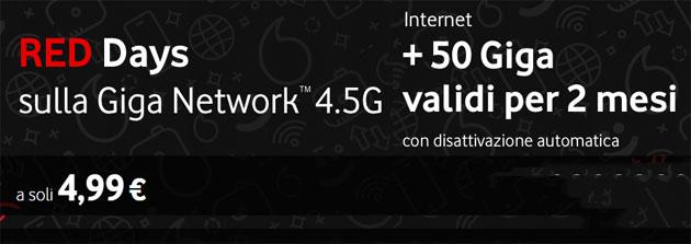 Vodafone, 50 giga per 2 mesi a 4,99 euro fino al 6 gennaio 2019
