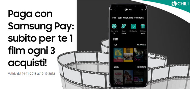 Foto Samsung Pay regala film a noleggio su Chili
