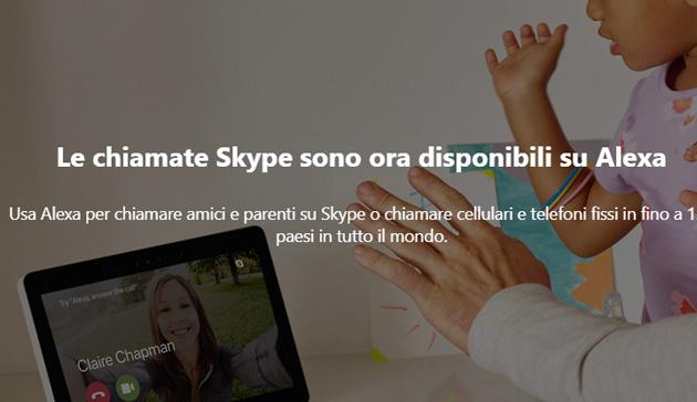 Skype sui dispositivi Alexa per chiamate Voce e Video