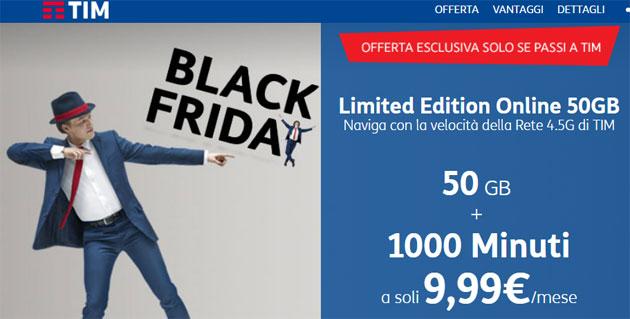 TIM Limited Edition Online Black Friday: 50GB, 1000 minuti a 9,99 euro al mese