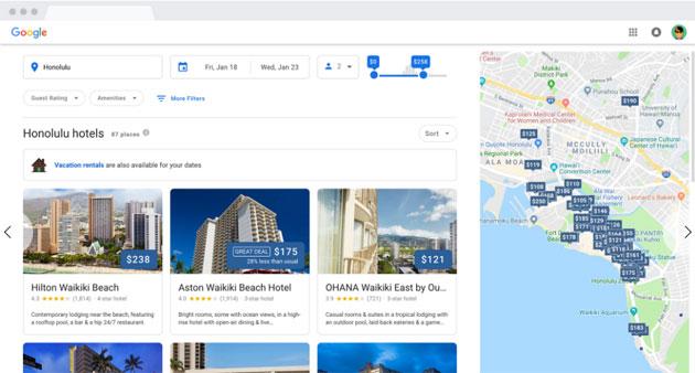 Google offre un nuovo modo per consultare gli hotel