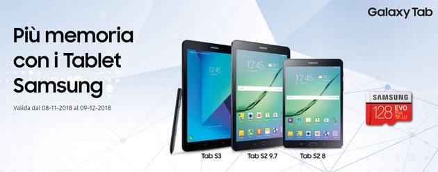 Samsung Galaxy Tab S3 e Tab S2 regalano una microSD 128GB