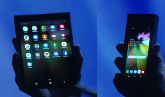 Foto Galaxy F, il device pieghevole Samsung anticipato al CES 2019 in privato