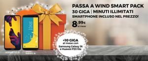 Passa a Wind Smart Pack Natale 2018: fino a 40 giga, minuti illimitati e nuovo smartphone incluso in 30 rate da 8,99 euro