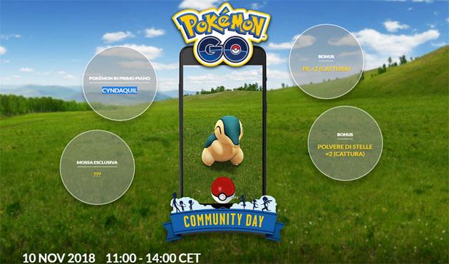 Pokemon GO, undicesimo Community Day il 10 novembre 2018 con special guest CYNDAQUIL