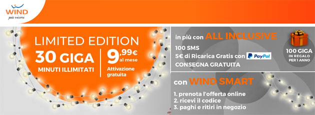 Foto Wind All Inclusive Limited Edition Natale 2018: 30 giga e minuti illimitati a 9,99 euro al mese. Offerta prenotabile online con ritiro in negozio