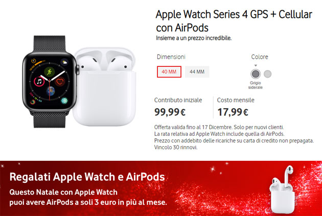 Foto Vodafone Simple+ con Apple Watch Series 4 GPS + Cellular ed AirPods in unica offerta