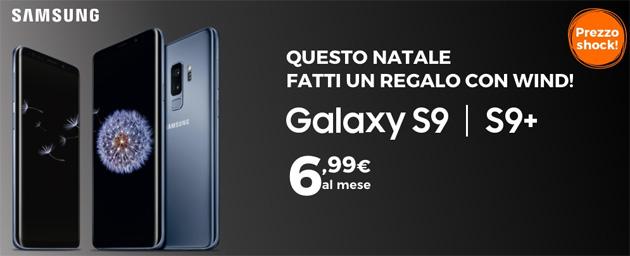 Samsung Galaxy S9 con Wind da 6,99 euro al mese per Natale
