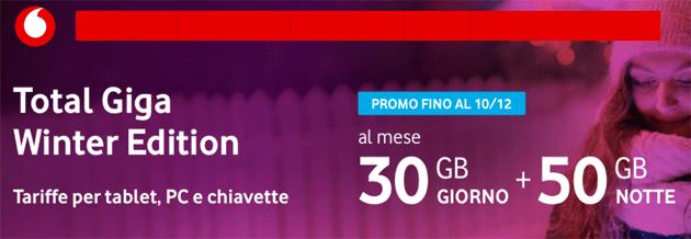 Vodafone proroga Total Giga Winter Edition: 30GB di giorno e 50GB di notte a 15 euro al mese