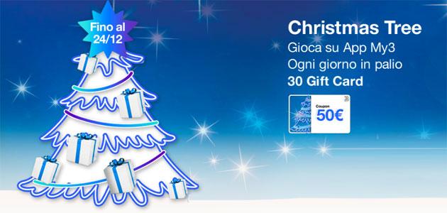 3 con Christmas Tree regala Gift Card di 50 euro per Natale (oggi ultimo giorno per giocare)