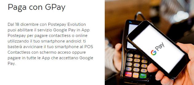 Google Pay e Postepay Evolution: come funziona, abilitare la carta e pagare in negozio