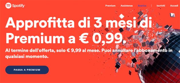 Spotify Premium a 0,99 euro per 3 mesi per Natale
