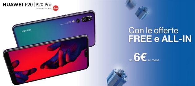 Huawei P20 e P20 Pro da 6 euro al mese con offerte 3 ALL-IN e FREE