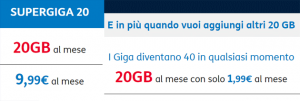 TIM SuperGiga: 20GB a 9,99 euro, 40GB a 11,98 euro