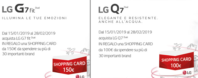 Foto Lg G7 Fit e Lg Q7 regalano shopping card fino a 150 euro