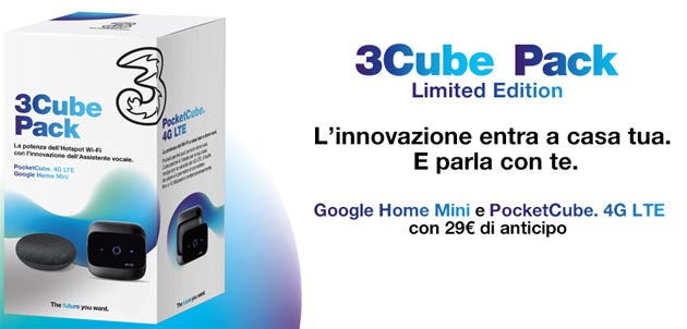 Foto 3Cube Pack, fino a 80 giga al mese con Google Home Mini e PocketCube inclusi