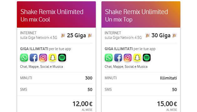 Vodafone, 10 giga aggiuntivi gratis con Shake Remix Unlimited Cool e Top online