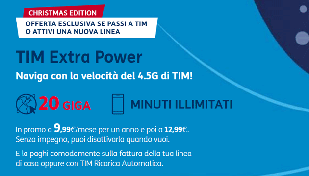 TIM Extra Power Christmas Edition: 20 Giga e minuti illimitati da 9,99 euro al mese