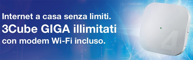 3Cube GIGA illimitati: internet nazionale senza limiti e WebCube4 4G LTE a 14,99 euro al mese