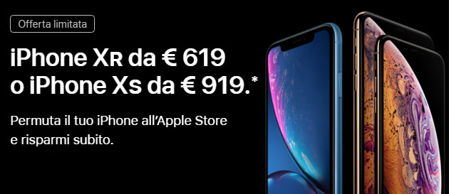 Foto Apple aumenta valore permuta dei vecchi iPhone acquistando iPhone XR o iPhone XS