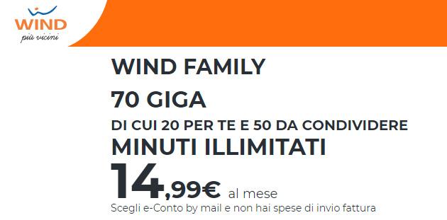 Wind Family, fino a 70 Giga di internet di cui 50 da condividere (fino al 24 marzo)