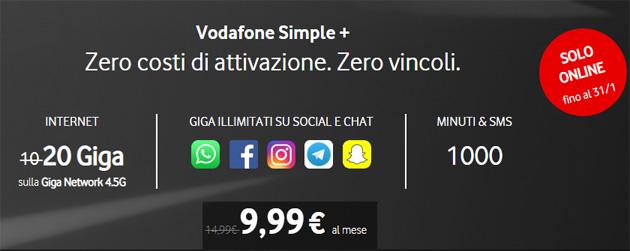 Vodafone Simple+, fino al 31 gennaio: 20 giga, 1000 minuti e SMS a 9,99 euro al mese
