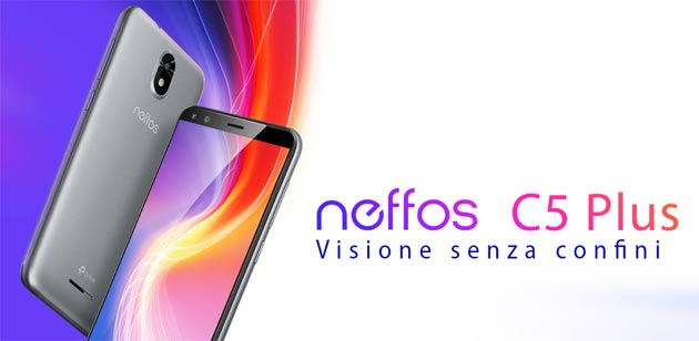 Foto Neffos C5 Plus con Android 8.1 GO Edition e display FullView da 5.34 pollici