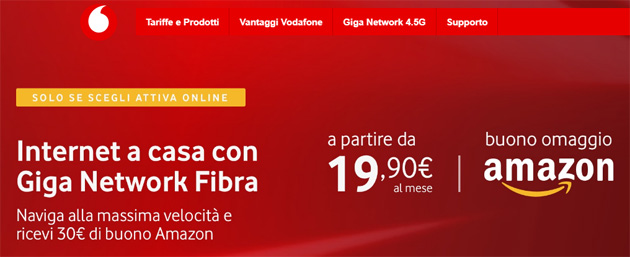 Vodafone regala Buono Regalo Amazon.it di 30 euro attivando una offerta Unlimited dal 16 al 19 gennaio