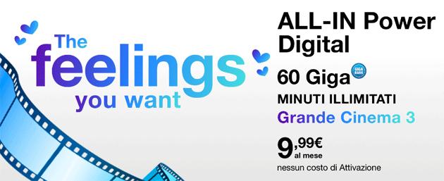 3 All-In Power Digital San Valentino: 60 Giga e Minuti illimitati a 9,99 euro al mese